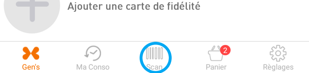 Position du bouton scan dans le menu de l'application