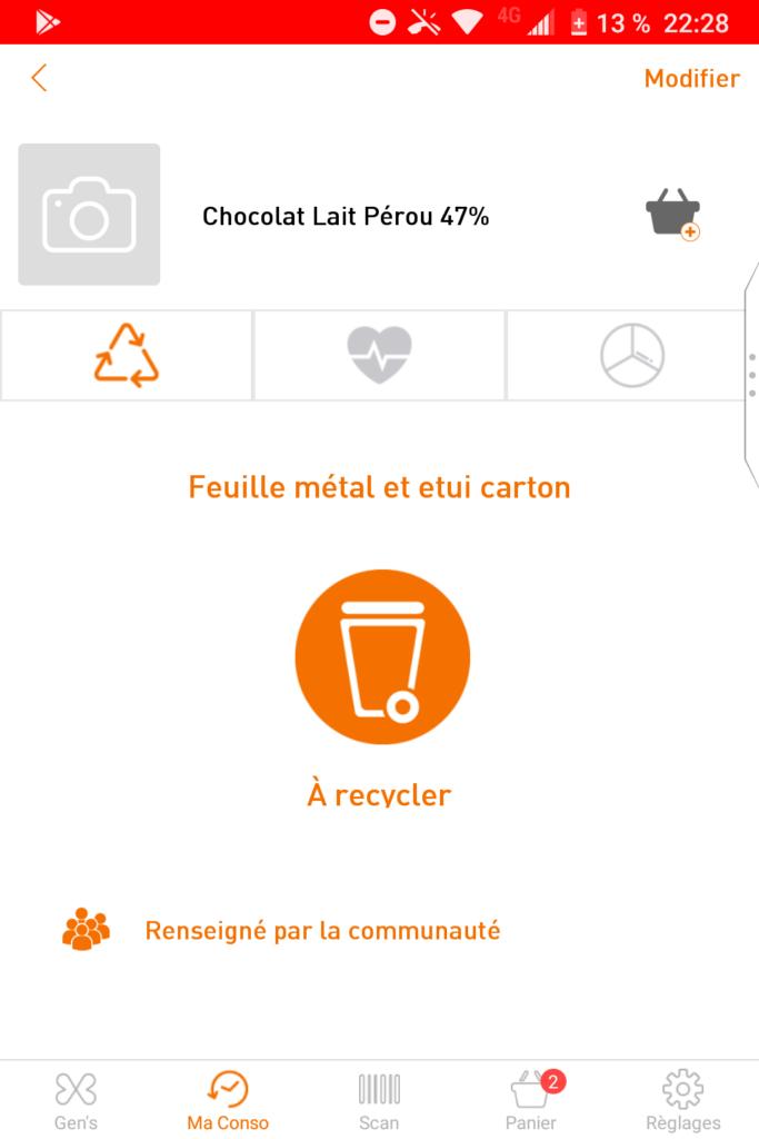 Copie d'écran des consignes de tri pour la tablette de chocolat