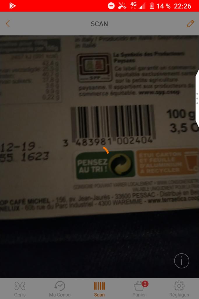 Copie d'écran du scan d'un produit