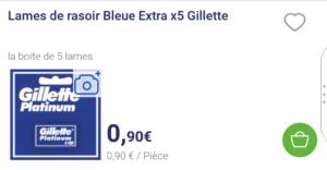Copie d'écran de l'application Carrefour Drive sur le prix d'un paquet de lames Gilette Sûreté le 13 août 2018 à Gennevilliers