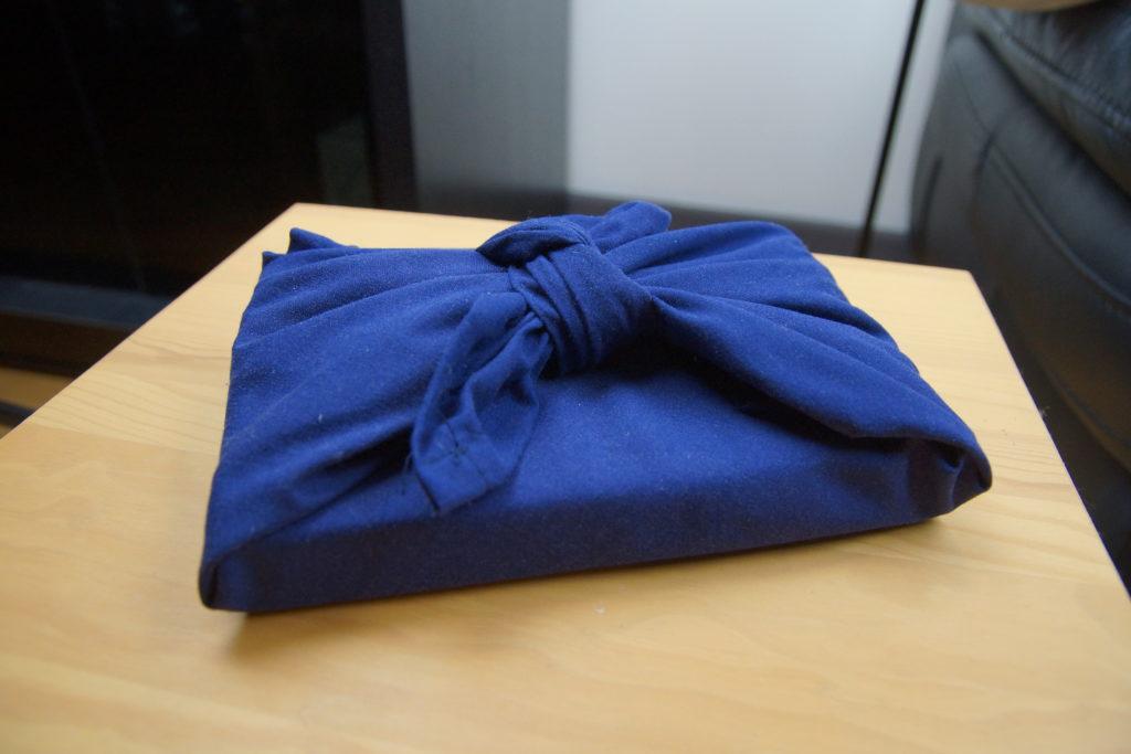 Furoshiki emballage tissu bleu